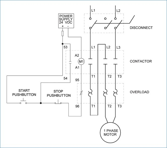 1 Phase Motor Starter Wiring Diagram - Single Phase Motor Control Wiring Diagram Electrical Engineering 9m