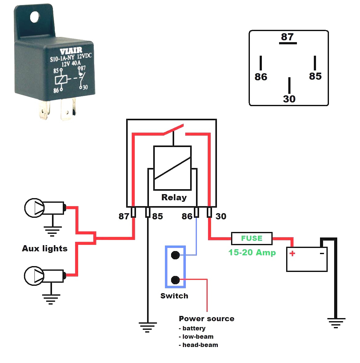 12v Relay Wiring Diagram Spotlights Download | Wiring Diagram Sample