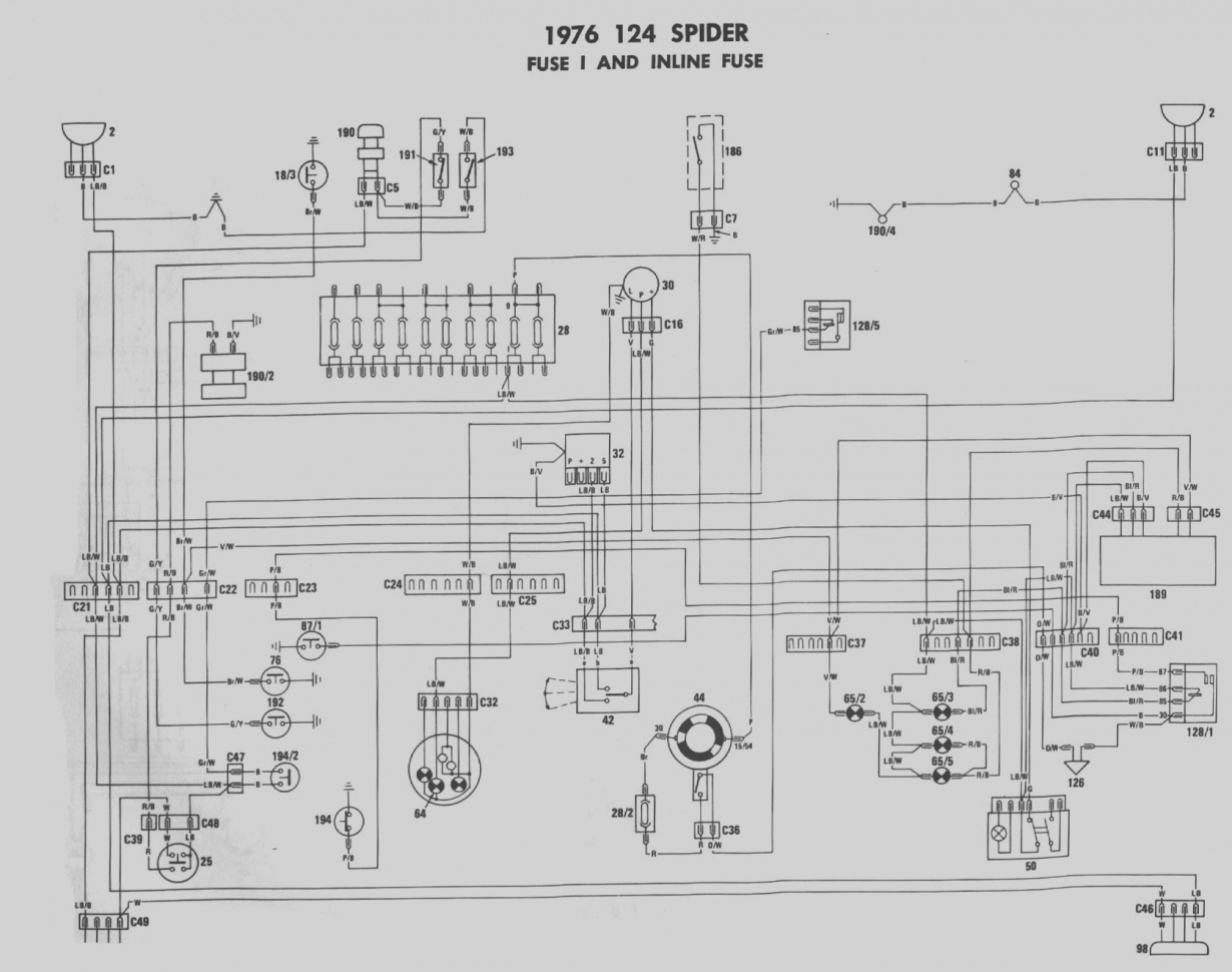 1975 fiat 124 spider wiring diagram 1977 fiat 124 wiring diagram diagram schematic rh yomelaniejo co 5h infiniti g37 wiring diagram wire center \u2022