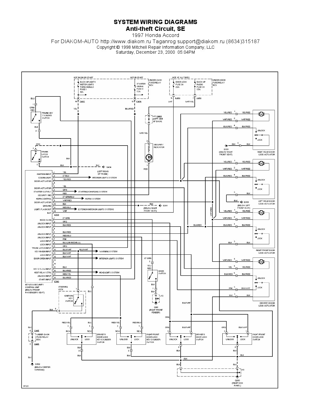 1994 Honda O2 Sensor Wiring Schematic Diagrams Lexus Is300 Diagram 1997 Accord Residential Electrical Subaru Color Codes