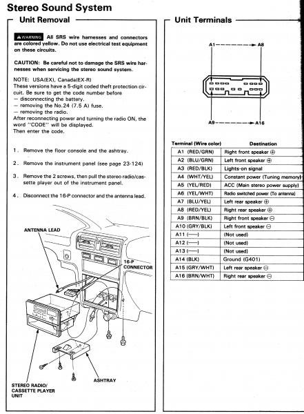 1994 Honda Civic Car Stereo Wiring Diagram : Honda civic radio wiring diagram sample