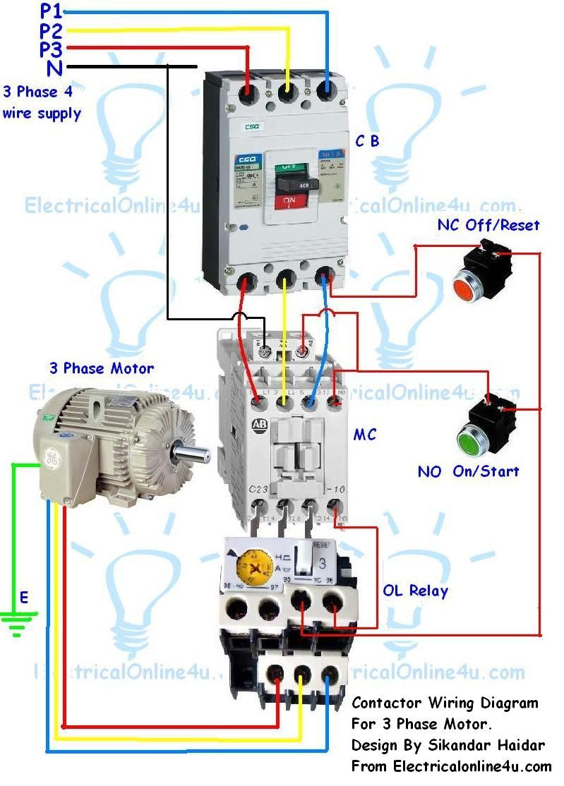 3 phase electric motor starter wiring diagram Collection-Contactor Wiring Guide For 3 Phase Motor With Circuit Breaker Overload Relay NC NO Switches 11-o