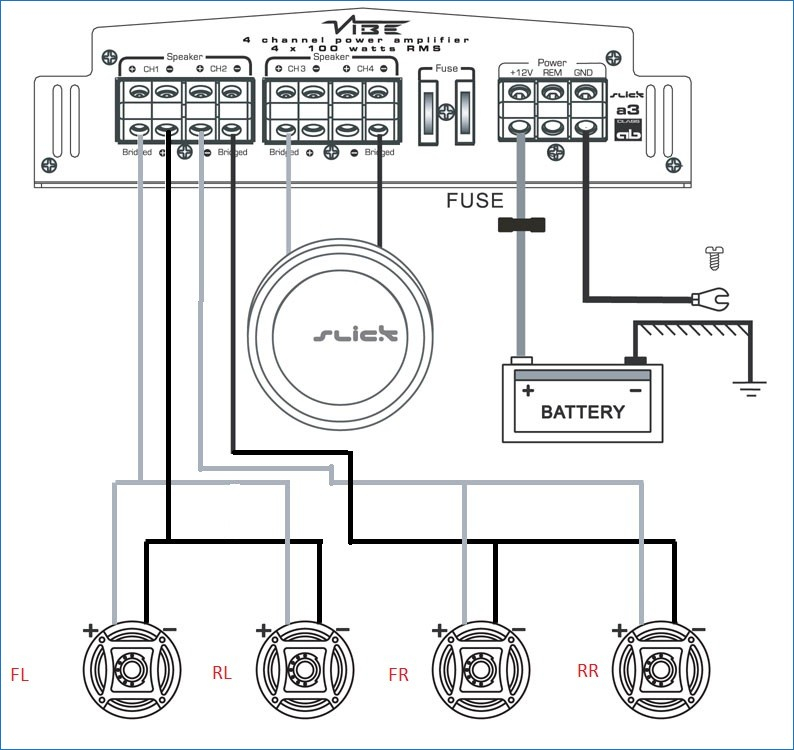 4 channel subwoofer wiring diagram enthusiast wiring diagrams u2022 rh rasalibre co Jl 4 Channel Amp Wiring Diagram Auto 4 Channel Amp 2 Speakers 1 Sub Wiring-Diagram
