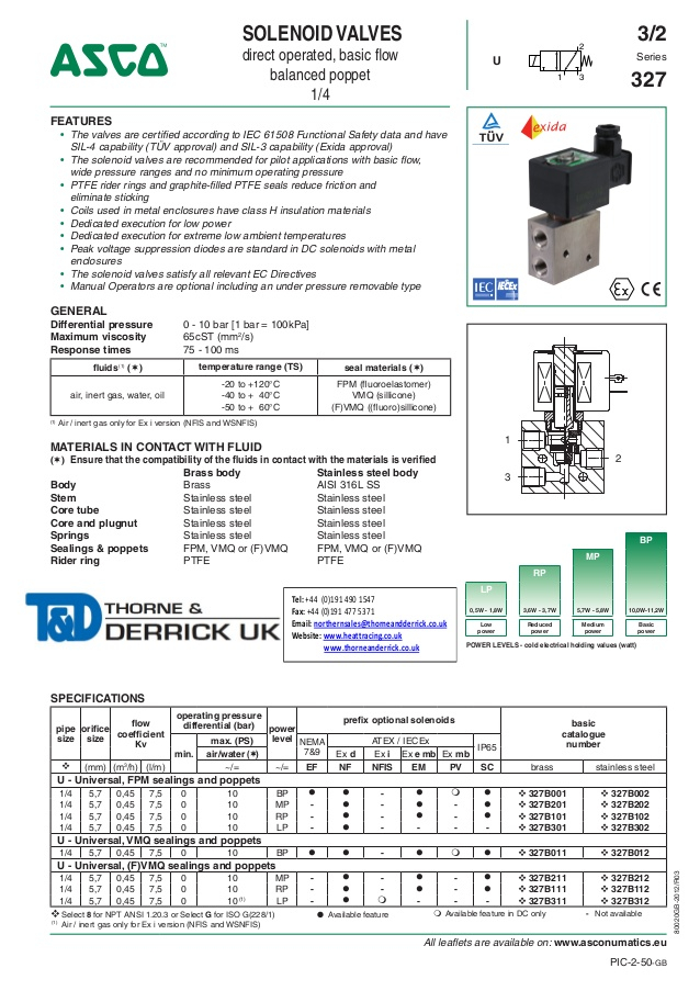 asco solenoid valve wiring diagram Collection-asco atex solenoid valves 327 series spec sheet 1 638 15-e