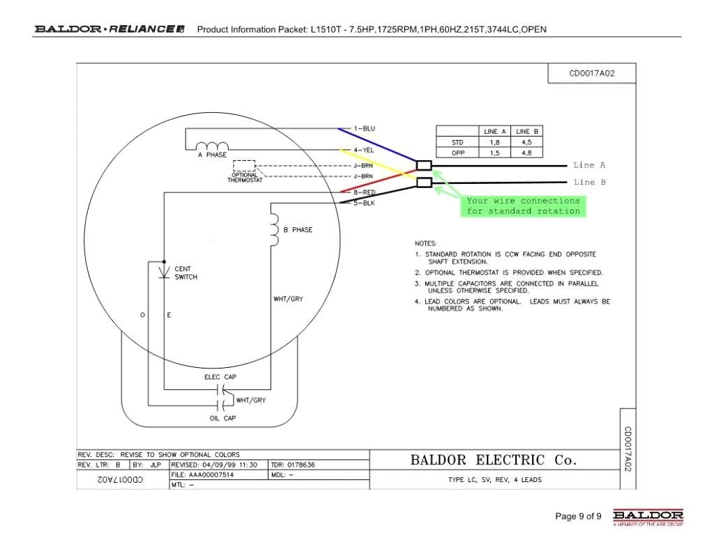baldor single phase 230v motor wiring diagram Collection-L1410t Baldor  Electric Motors Wiring Diagrams Download