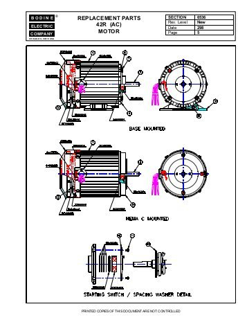 bodine electric dc motor wiring diagram Download-REPLACEMENT PARTS 42R AC MOTOR Bodine Electric pany 10-k