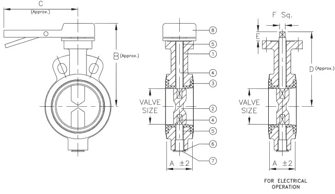 butterfly valve components diagram