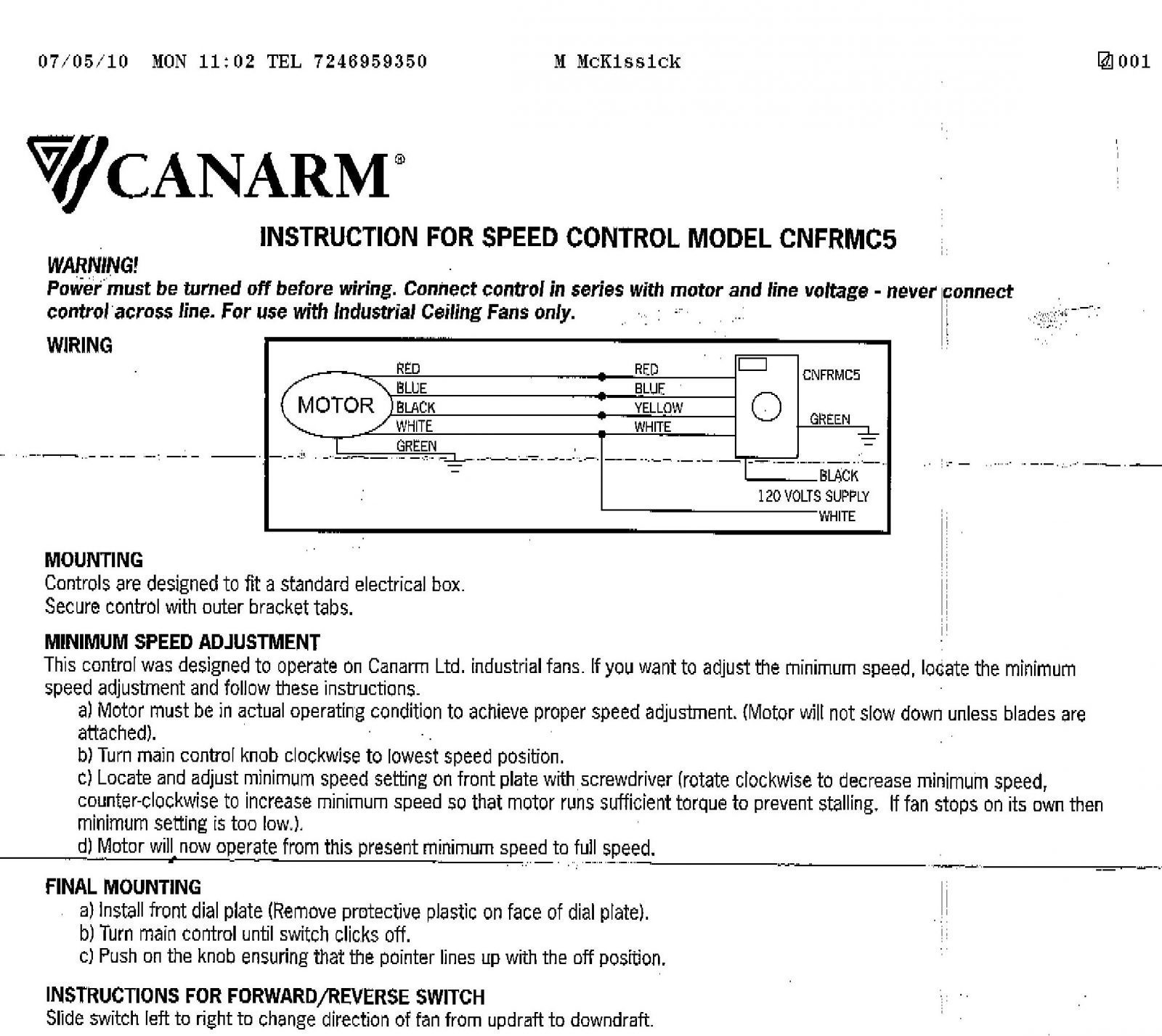 Canarm Fan Speed Control Wiring Diagram Gallery Wiring