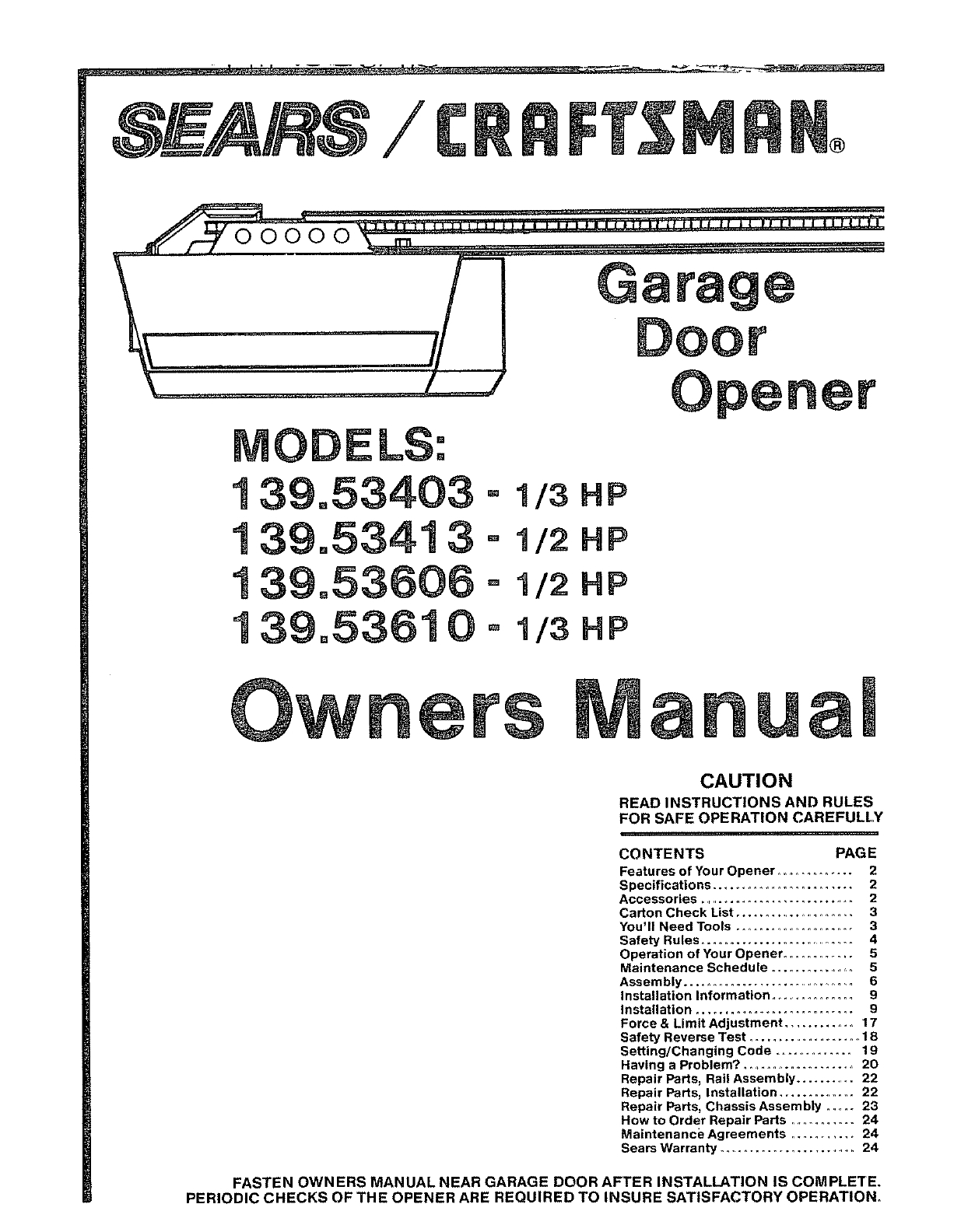 Craftsman 1 2 Hp Garage Door Manual Pdf