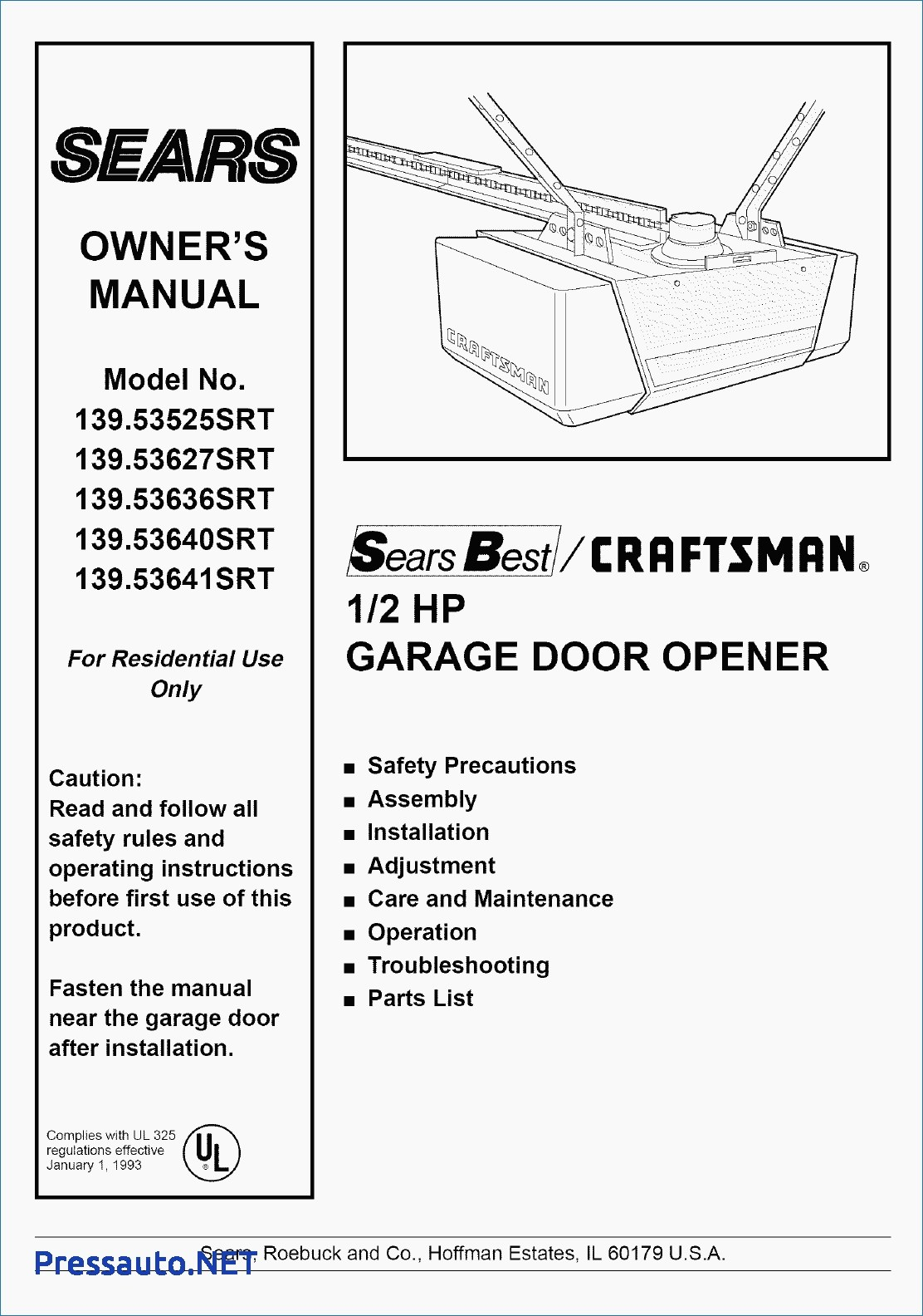 Craftsman 1 2 Hp Garage Door Opener Wiring Diagram Download