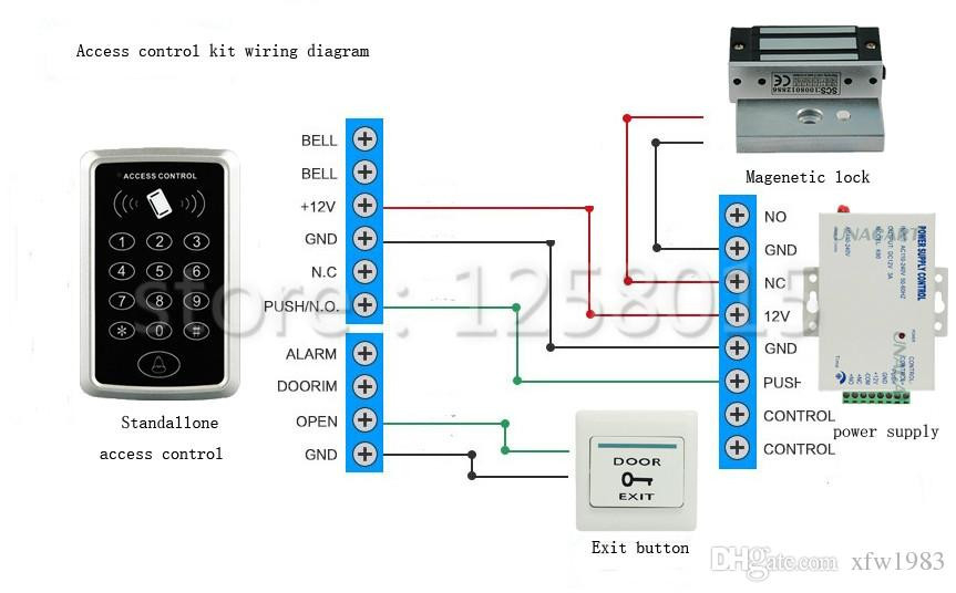 door access control wiring diagram Collection-DIY 125KHz RFID Black Controller Access Control Kit for Single Door 7-f