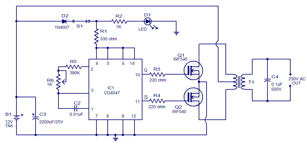 dual lite inverter wiring diagram Download-Simple 100W inverter circuit 16-l