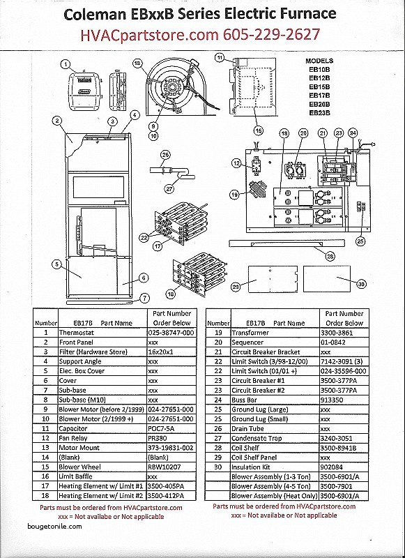 coleman parts and wiring diagrams