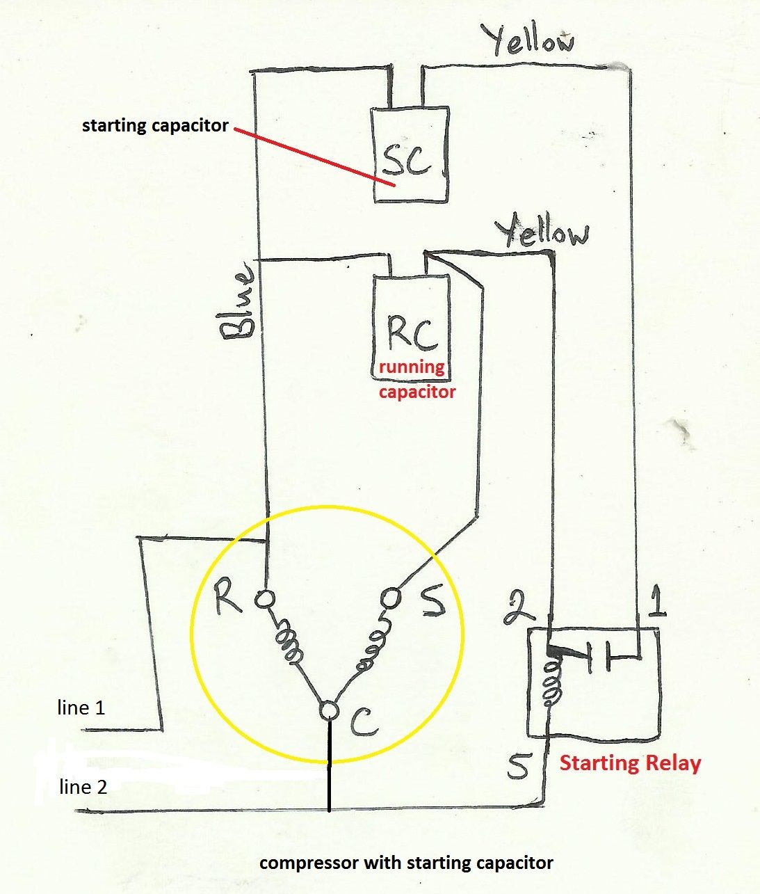 electric motor capacitor wiring diagram sample