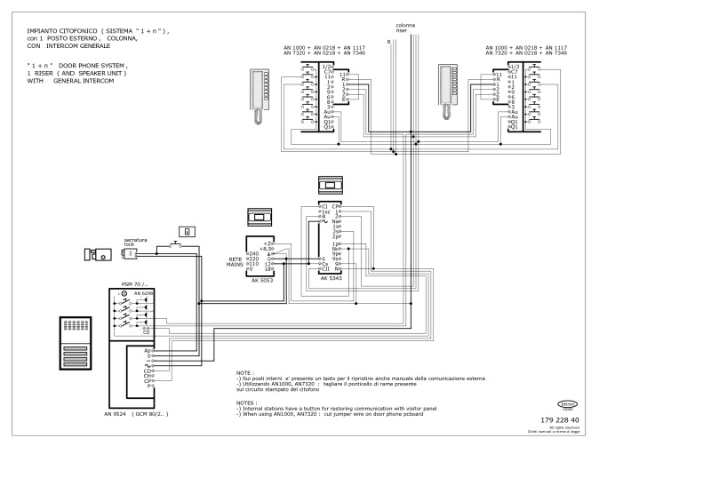 Elvox Intercom Wiring Diagram - Bitron 1 N Audio 1 Entrance K Phones General Inter 6f