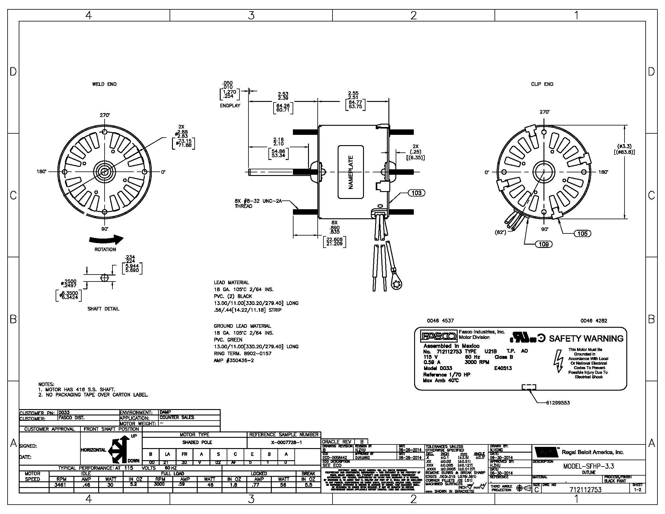 fasco fan motor wiring diagram Download-Wiring Diagram For Fasco Blower Motor Fresh Wiring Diagram Shaded Pole Motor New D033 Fasco 1 70 Hp Fan & Blower 7-q