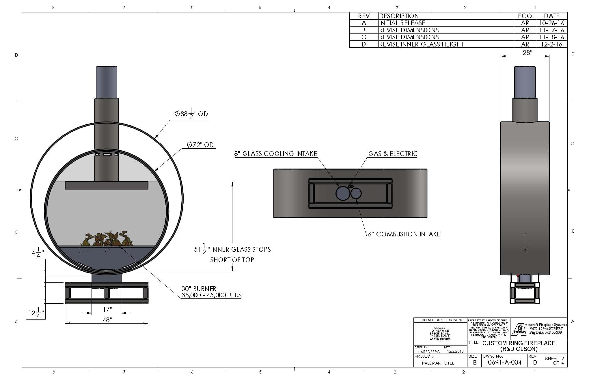 gas fireplace wiring diagram Collection-Acucraft Custom Gas Circular Double Ring Fireplace Palomar Hotel Design Drawing 2 9-l