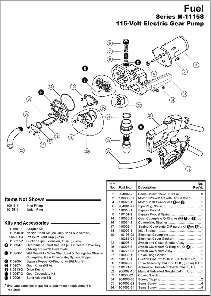 gpi fuel pump wiring diagram Download-GPI M 1115S 115 Volt Electric Gear Pump Spare Parts 6-m