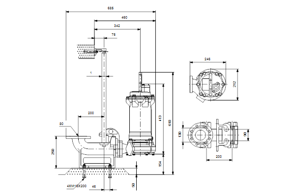 grundfos pump wiring diagram Download-dimdrawing 1-n