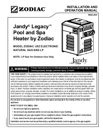 jandy 4 button spa side remote wiring diagram Download-Jandy Legacy™ Pool and Spa Heater by Zodiac ModeL Zodiac 16-r