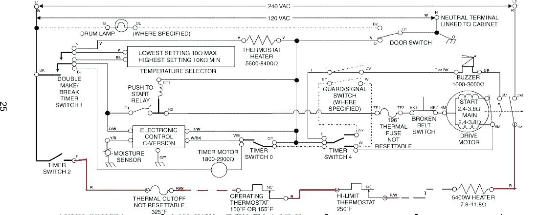 Kenmore 90 Series Dryer Heating Element Wiring Diagram