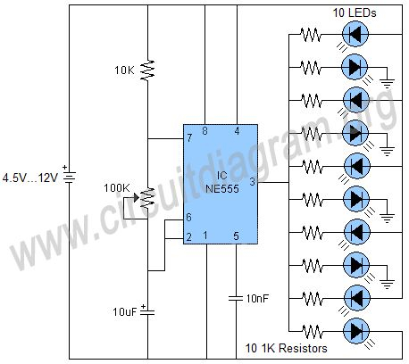 led flasher wiring diagram Download-Running LED effects using 555 timer IC 19-h