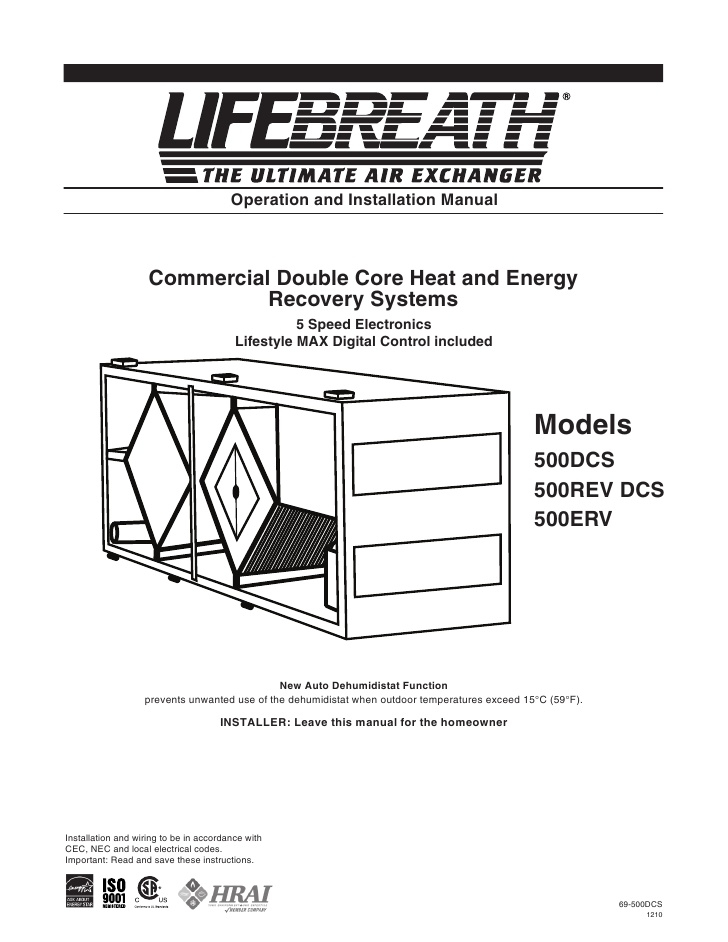 lifebreath hrv wiring diagram Download-Operation and Installation Manual mercial Double Core 19-o