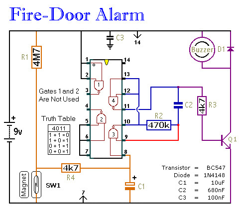 magnetic door switch wiring diagram Download-Fridge Door Alarm Circuit Diagram Luxury Fire Door Alarm Construction Guide 20-n