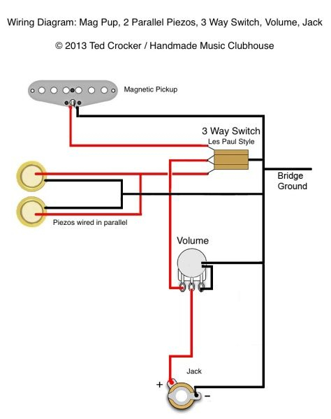 magnetic switch wiring diagram Download-Ted Crocker wiring diagram 1 Single Coil 2 Piezo 1 Vol 3 Way switch 15-h