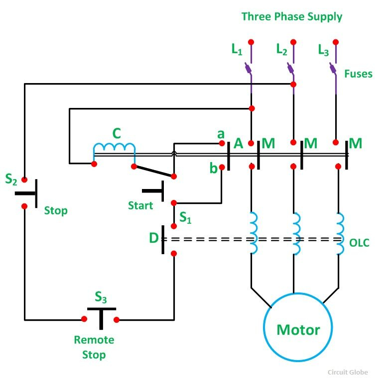 Start Stop Wiring Diagram Motor - Direct Line Starter 17s