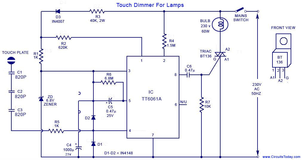 Touch Dimmer Wiring Diagram Downloada Simple Circuit Using Tt6061 Ic Which Download: Touch Wiring Diagram At Outingpk.com