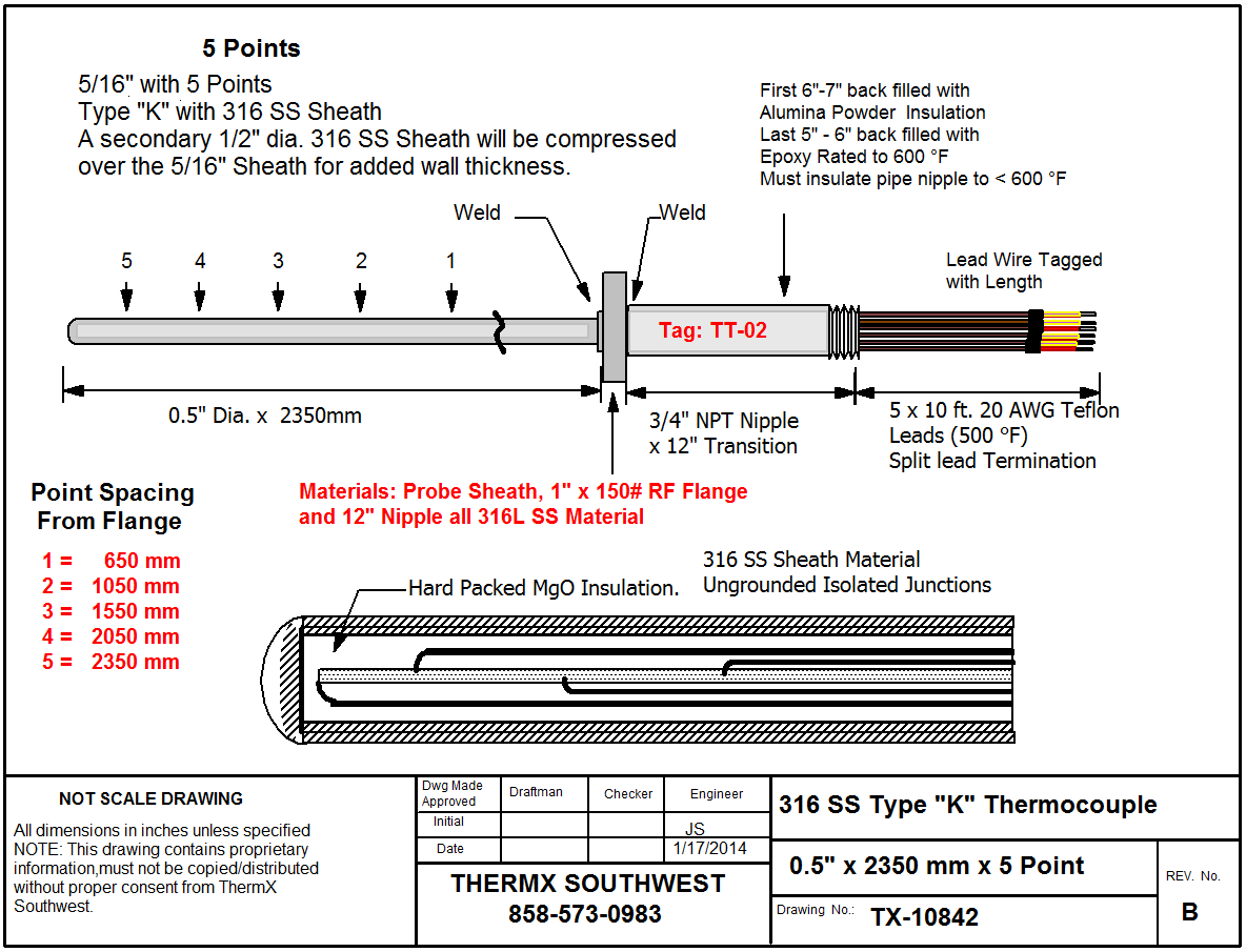 type j thermocouple wiring diagram Collection-Sample Drawings of Multipoint Thermocouples 11-f